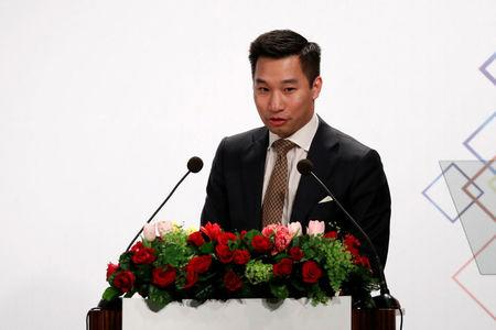 Alex Wong, U.S. deputy assistant secretary at the Bureau of East Asian and Pacific Affairs, speaks at American Chamber of Commerce (AmCham)'s yearly dinner event, in Taipei