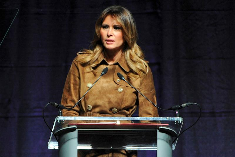 First lady Melania Trump speaks at the B'More Youth Summit about opioid abuse, Nov. 26, 2019, in Baltimore.
