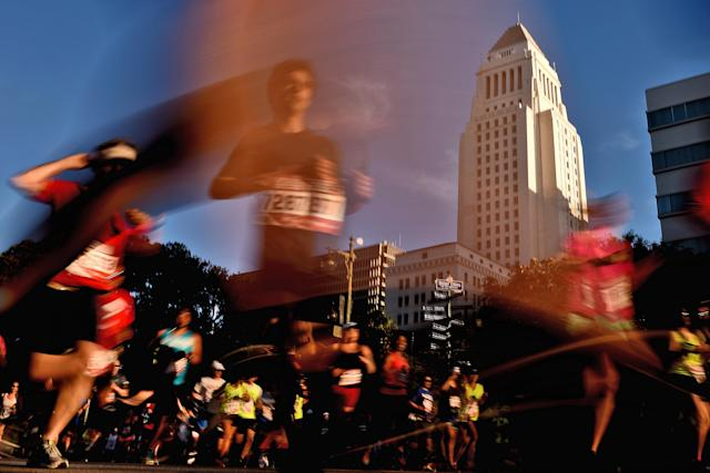 A suspicious time by a 70-year-old doctor prompted online outrage and ultimately his disqualification from the L.A. Marathon. (Getty)