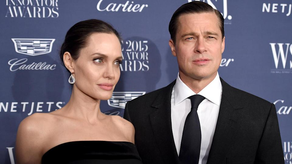 NEW YORK, NY - NOVEMBER 04:  2015 Entertainment Innovator Angelina Jolie Pitt (L) and Brad Pitt attend the WSJ.