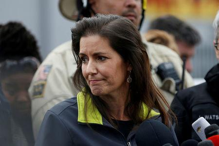 FILE PHOTO: Oakland Mayor Libby Schaaf speaks to members of the media in Oakland California