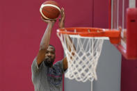 Kevin Durant shoots during practice for USA Basketball, Wednesday, July 7, 2021, in Las Vegas. (AP Photo/John Locher)