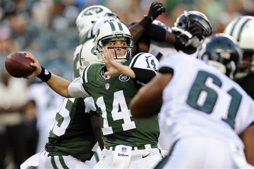 New York Jets quarterback Greg McElroy (14) passes in the first half of a preseason NFL football game against the Philadelphia Eagles, Thursday, Aug. 30, 2012, in Philadelphia. (AP Photo/Michael Perez)