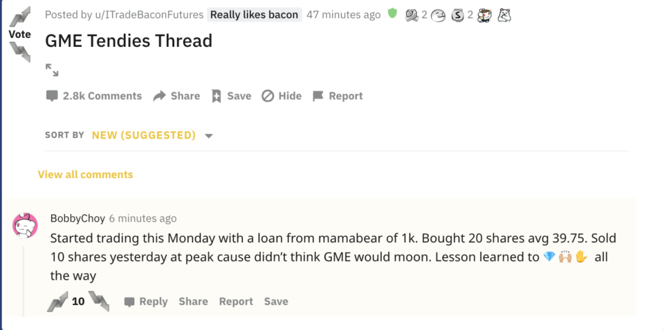 Reddit user reaction to $GME short squeeze