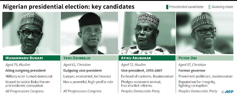 Nigerian presidential election: Key candidates (AFP Photo/Gillian HANDYSIDE)