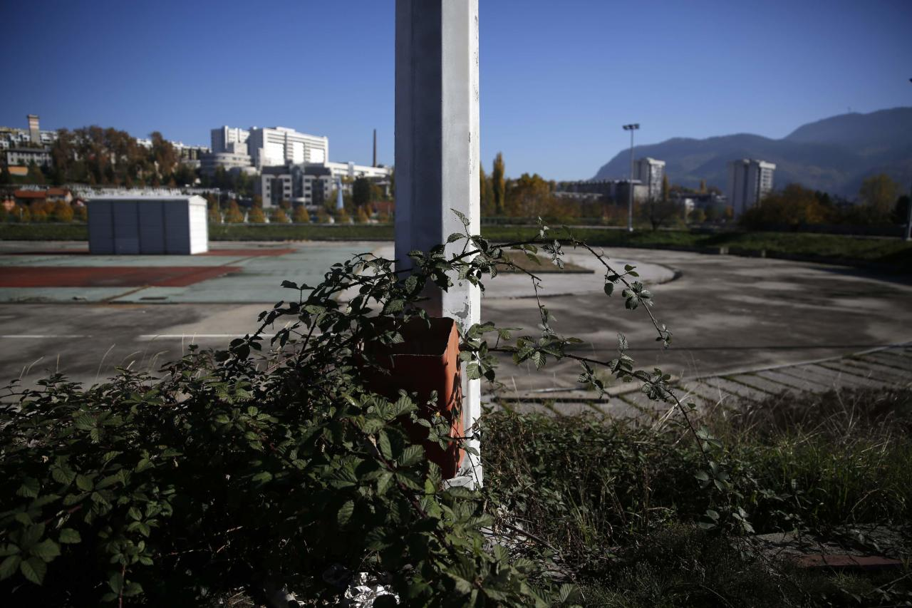 The derelict site of Zetra hall, the venue for the figure skating during the Winter Olympics in Sarajevo