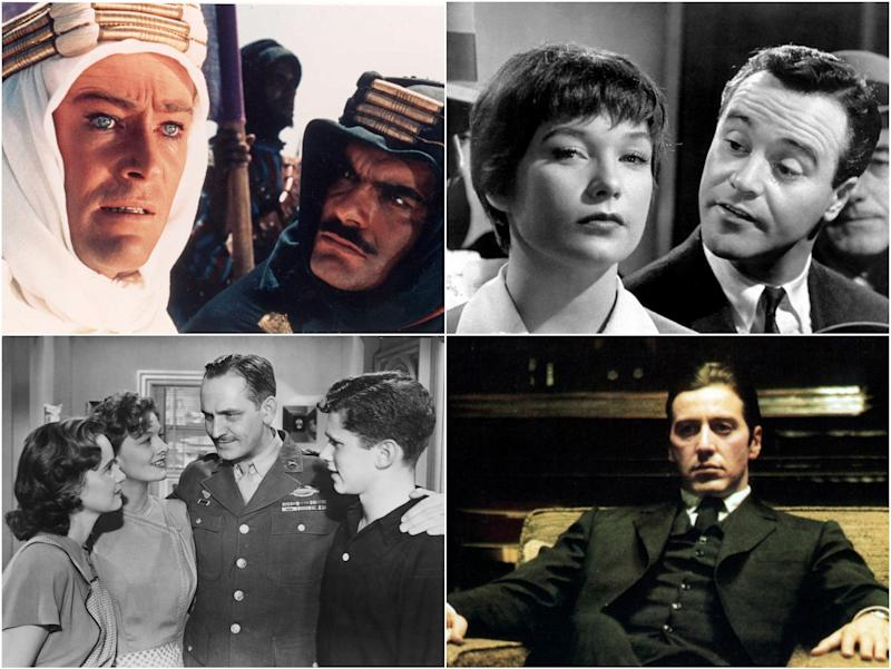 Clockwise from top right: Lawrence of Arabia, The Apartment, The Godfather Part II, The Best Years of our Lives: Columbia/Paramount