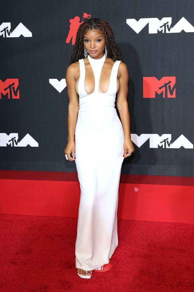<p>The upcoming The Little Mermaid star wore a Mônot extreme cut-out gown. </p>