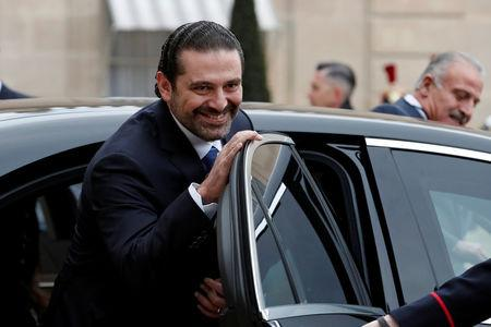 Saad al-Hariri, who announced his resignation as Lebanon's Prime Minister while on a visit to Saudi Arabia, looks on after a meeting with the French President at the Elysee Palace in Paris