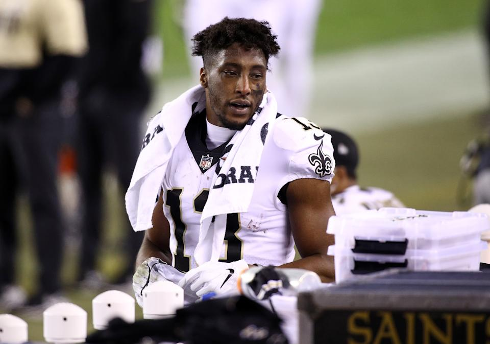 PHILADELPHIA, PA - DECEMBER 13: New Orleans Saints Wide Receiver Michael Thomas (13) looks on from the bench in the second half during the game between the New Orleans Saints and Philadelphia Eagles on December 13, 2020 at Lincoln Financial Field in Philadelphia, PA. (Photo by Kyle Ross/Icon Sportswire via Getty Images)