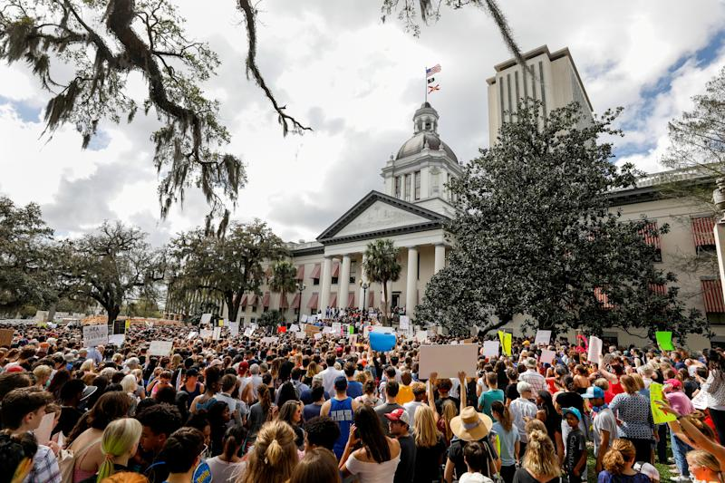 Protesters rally for gun law reform in Tallahassee, Fla., Feb. 21, 2018