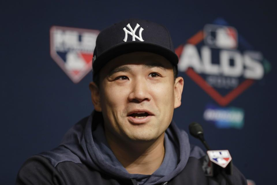 New York Yankees starting pitcher Masahiro Tanaka, of Japan, speaks during a news conference before Game 1 of an American League Division Series against the Minnesota Twins Friday, Oct. 4, 2019, at Yankee Stadium in New York. (AP Photo/Frank Franklin II)