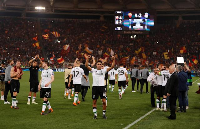Soccer Football - Champions League Semi Final Second Leg - AS Roma v Liverpool - Stadio Olimpico, Rome, Italy - May 2, 2018 Liverpool's Trent Alexander-Arnold celebrates after the match Action Images via Reuters/John Sibley