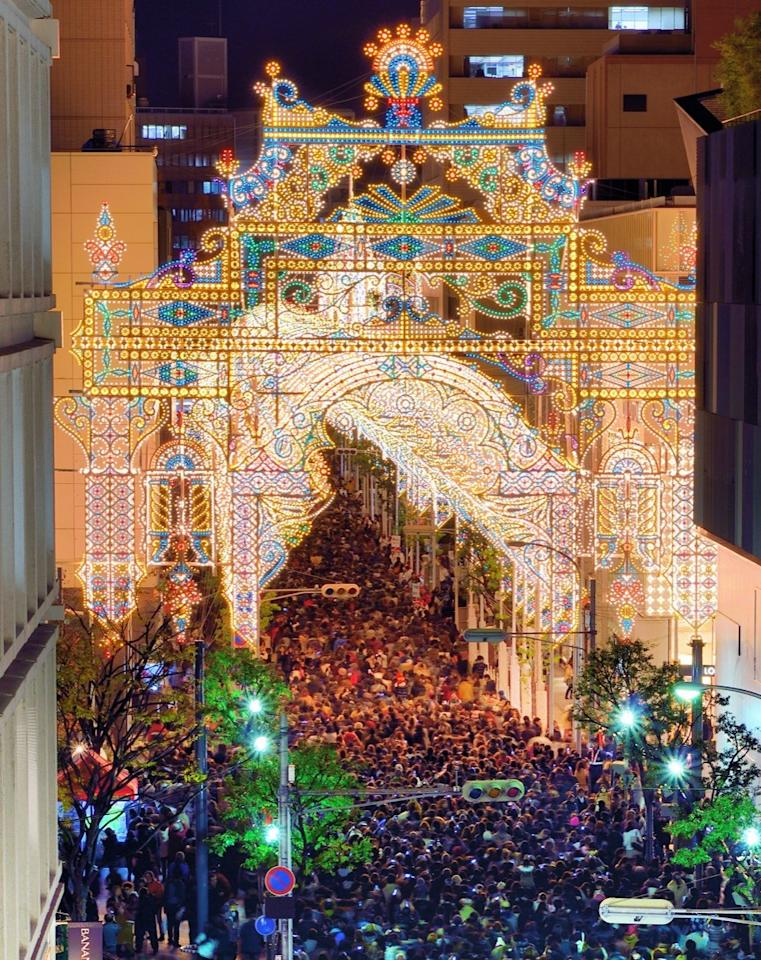 "This <a rel=""nofollow"" href=""https://japancheapo.com/events/kobe-luminarie/"">festival of lights</a> is held every year in the first two weeks of December to commemorate the Great Hanshin earthquake of 1995, where nearly 4,600 citizens of Kobe lost their lives. The bulbs used to create this masterpiece were donated by the Italian government, as the illumination symbolizes hope for the future of Kobe, Japan. The opening ceremony is kicked off by a silent prayer for the victims, while a memorial naming those who were killed is posted during the nighttime activities. In total, more than four million people visit this festival every year."