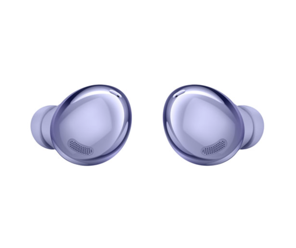 Samsung Galaxy Buds Pro Noise Cancelling Truly Wireless Headphones in purple on white background