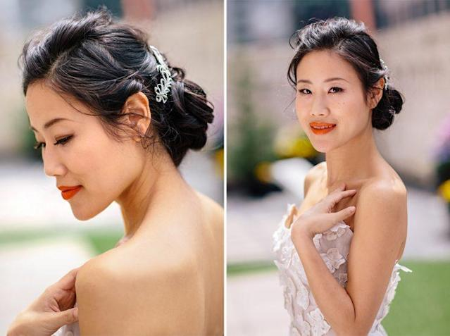 Yoon rocks an unexpected bright orange lip and a classy bejeweled updo. (Photo: Priscilla De Castro)