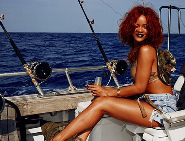 """It's official: The singer can make any activity — even one that is pretty grody — look fabulous.Here she is kicking back on a dirty fishing boat having a drink and a toke, and making it look fashion-photo-shoot fabulous. <i>(Photo: <a href=""""https://www.instagram.com/p/14LptWBM8-/"""">Instagram</a>)</i>"""