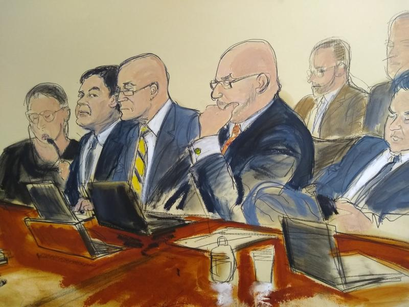 In this courtroom drawing Joaquin