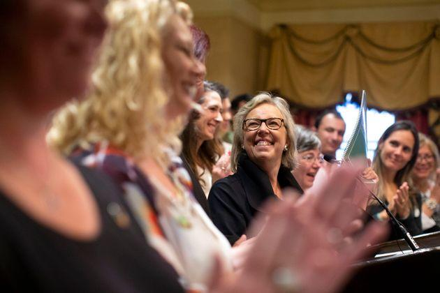 Green Party Leader Elizabeth May attends the launch of her party's election platform in Toronto, Sept. 16, 2019.