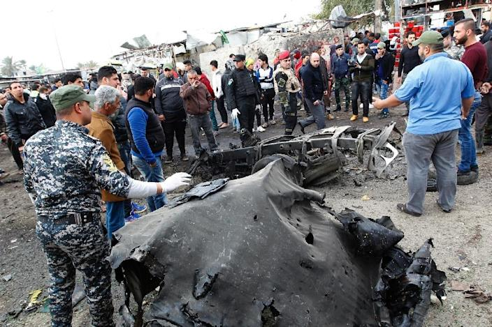 At least 32 people were killed in a suicide car bombing that targeted a Shiite neighbourhood of the capital Baghdad on January 2, 2017 (AFP Photo/Sabah Arar)