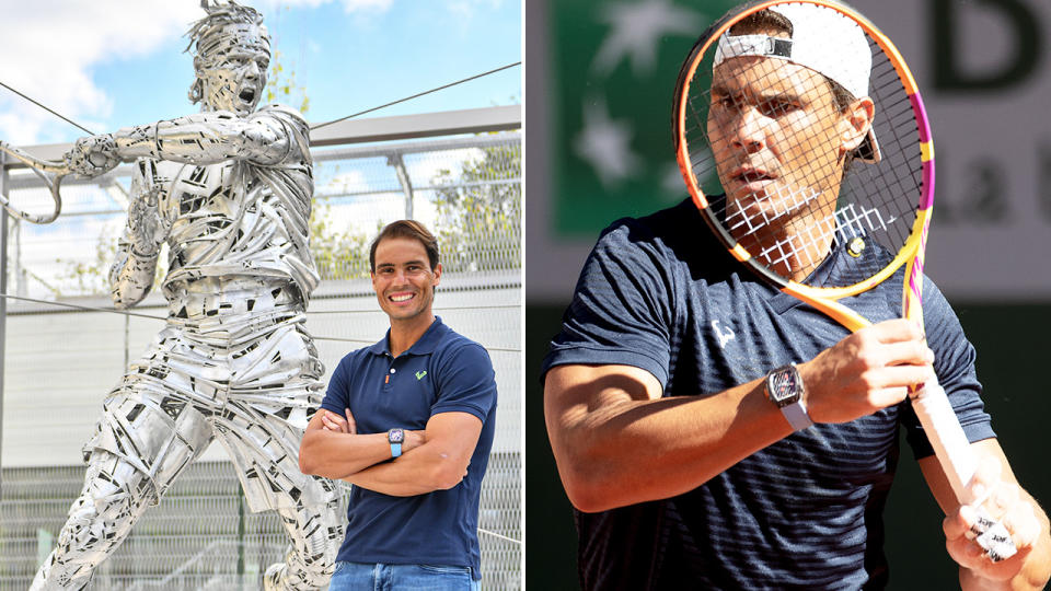 Rafael Nadal's statue, pictured here after being unveiled at Roland Garros on Thursday.