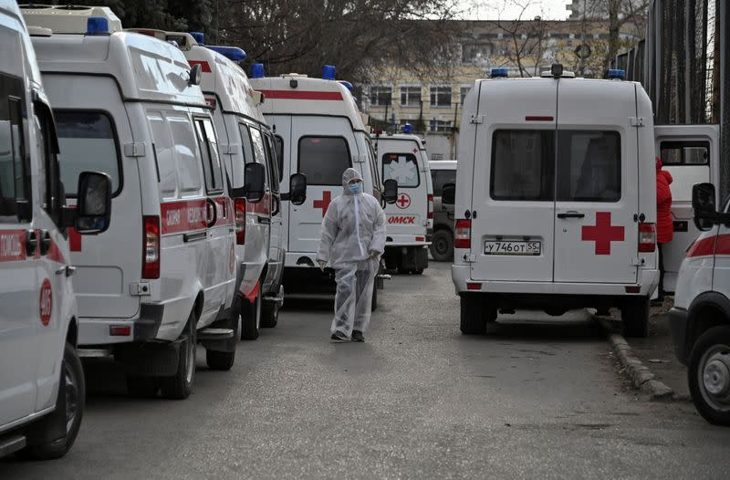 Ambulances are parked outside a hospital amid the outbreak of the coronavirus disease in Omsk