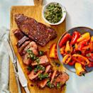 """<p>You'll love this rustic 3-minute Chimichurri sauce spooned over a lean grilled strip steak, but it pairs well with sirloin, flank, or <em>any</em> cut of beef in your freezer, really. Save the extra sauce for dipping crudité or greens into. </p><p><a href=""""https://www.goodhousekeeping.com/food-recipes/healthy/a32055331/chimichurri-steak-recipe/"""" rel=""""nofollow noopener"""" target=""""_blank"""" data-ylk=""""slk:Get the recipe for Steak Chimichurri »"""" class=""""link rapid-noclick-resp""""><em>Get the recipe for Steak Chimichurri »</em></a></p>"""