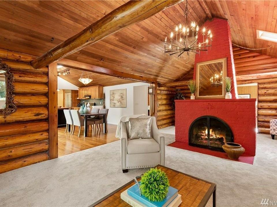 The living room of the log home in Woodinville, Washington.
