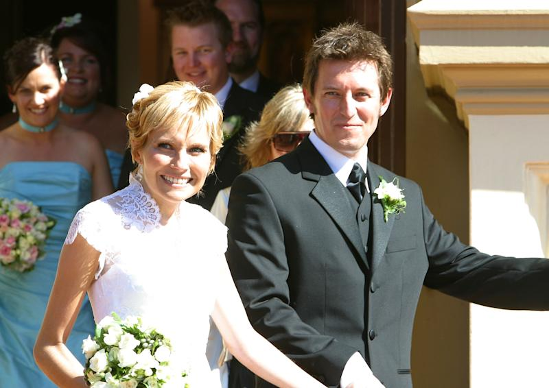 Belinda Emmett and Rove McManus during their wedding held Mary Immaculate Church Waverly on January 29th, 2005 in Sydney, Australia.