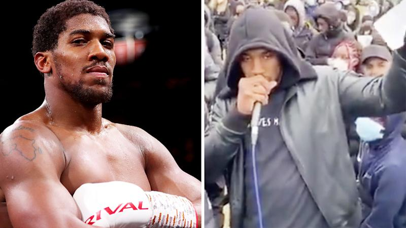 A 50-50 split image show boxer Anthony Joshua on the left, next to a picture of him from a recent Black Lives Matter rally.
