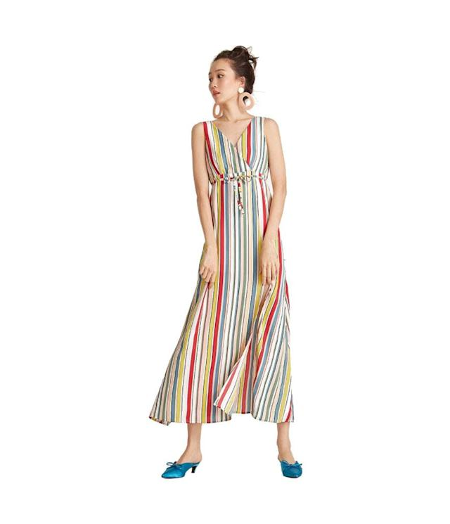 "<p>Maxi surplice rainbow striped dress, $55, <a href=""https://www.pomelofashion.com/global/clothes/dresses/?p=4"" rel=""nofollow noopener"" target=""_blank"" data-ylk=""slk:pomelofashion.com"" class=""link rapid-noclick-resp"">pomelofashion.com</a> </p>"