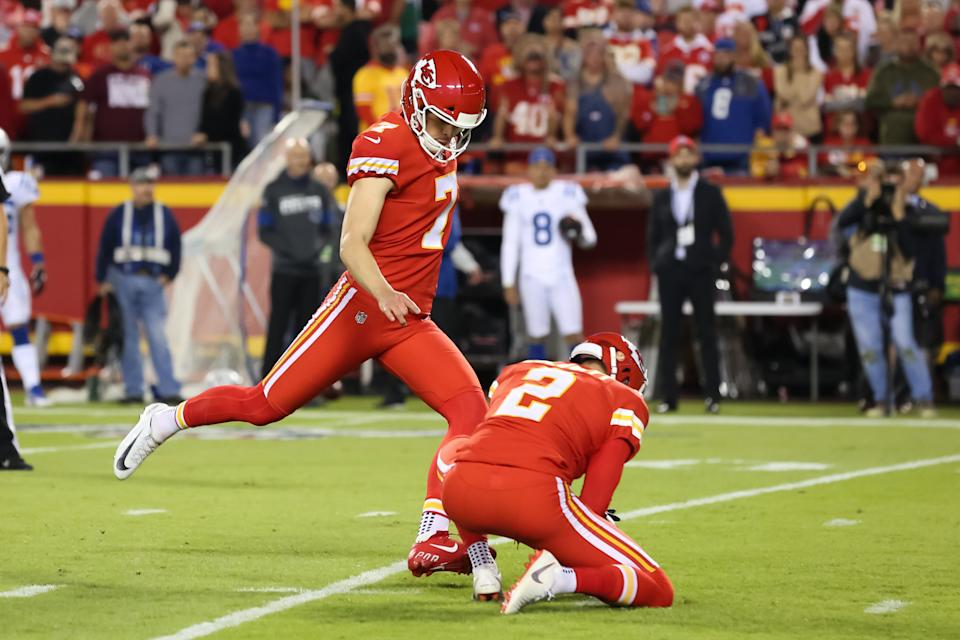 Kansas City Chiefs kicker Harrison Butker (7)