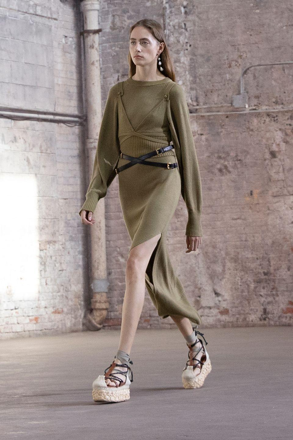 <p>Joseph Altuzarra was inspired by science fiction and real life when creating this collection, referencing <em>Dune</em> and the at-odds emotions he cycled through during the pandemic's various stages. The combination of both resulted in beautiful pieces that are loose and easy, but also pleasurable (the opposite of utilitarian pieces you suffer through wearing, these are delicious knits, soft leathers, and liquid-like silks you'll look forward to putting on). There was plenty of suiting, too, a staple for the brand, but the styles were softer than previous seasons, oversized and boxy with an '80s bend. This Altuzarra is still sexy and cool, but altogether warmer, the work of a man who spent the preceding months realizing how much joy and comfort can be found from the simple things. <em>—Leah Melby Clinton</em></p>
