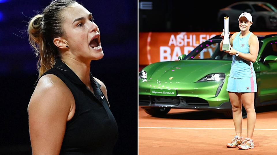 Pictured here, Aryna Sabalenka looking annoyed as Ash Barty holds her trophy aloft in front of her new Porsche.