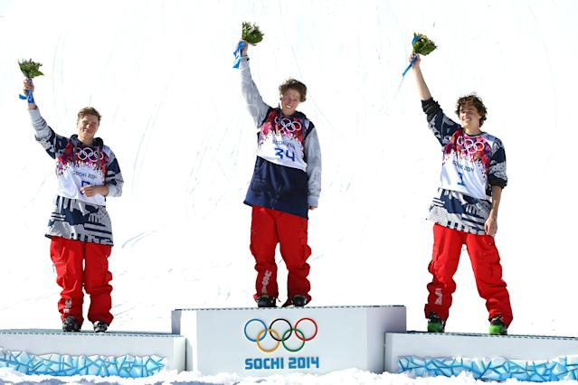 SOCHI, RUSSIA - FEBRUARY 13: (L-R) Silver medalist Gus Kenworthy of the United States, gold medalist Joss Christensen of the United States and bronze medalist Nicholas Goepper of the United States stand on the podium during the flower ceremony after the Freestyle Skiing Men's Ski Slopestyle Finals during day six of the Sochi 2014 Winter Olympics at Rosa Khutor Extreme Park on February 13, 2014 in Sochi, Russia. (Photo by Al Bello/Getty Images)