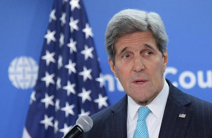 US Secretary of State John Kerry, pictured March 12, 2015, and his Iranian counterpart are due to meet in Switzerland on Sunday, seeking to agree the outlines of a nuclear deal by a March 31 deadline (AFP Photo/Mandel Ngan)