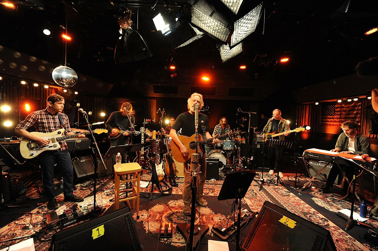 "Sam Cohen, Thomas Bartlett, Aaron Dessner, Conrad Doucette, Bob Weir, Bryan Devendorf, Scott Devendorf, Walter Martin and Josh Kaufman perform during the Yahoo! Music Presents ""The Bridge Session"" sponsored by Headcount at TRI Studios on March 24, 2012 in San Rafael, California."