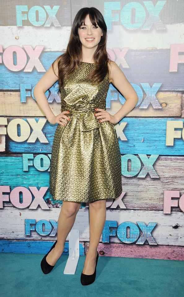 "Zooey Deschanel (""New Girl"") arrives at the Fox Summer 2012 All-Star Party on July 23, 2012 at the Soho House in West Hollywood, California."
