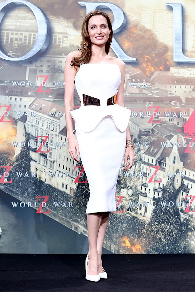 BERLIN, GERMANY - JUNE 04:  Actress Angelina Jolie attends 'WORLD WAR Z' Germany Premiere at Sony Centre on June 4, 2013 in Berlin, Germany.  (Photo by Andreas Rentz/Getty Images for Paramount Pictures)