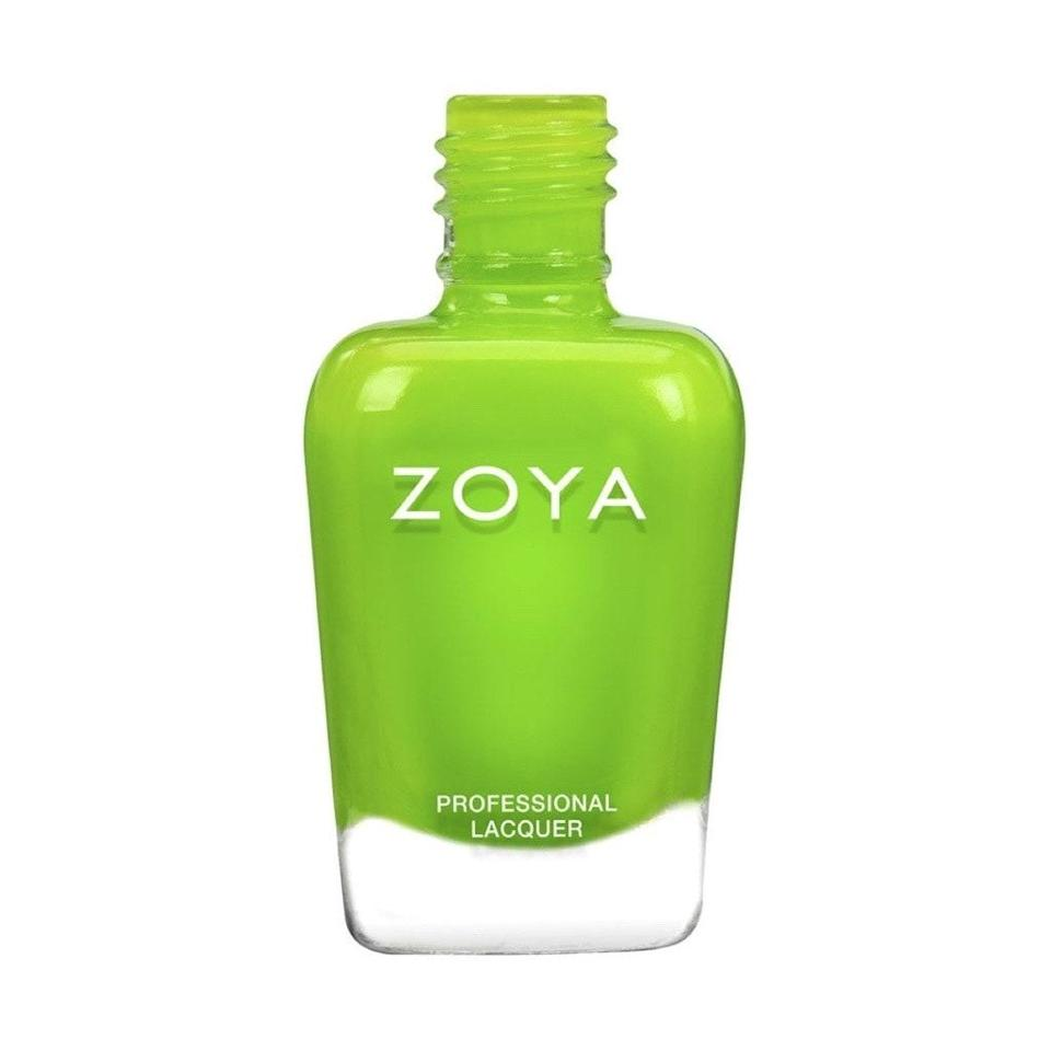 """<p>""""This summer, I'm reaching for neon colors like acid green for my nail-art looks,"""" Miss Pop says — or as we like to call this color, inchworm green. """"It's a shade that feels supernatural, and that's a vibe I can get behind right now.""""</p> <p>One of our favorite new takes on the shade is Link by Zoya, which has a surprisingly matte finish not unlike that of our favorite kind of caterpillar. </p>"""