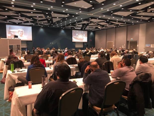 Day one of the Nunavut Impact Review Board's final public hearings in Iqaluit, Monday April 12. The hearings were suspended on Wednesday following Iqaluit's first confirmed case of COVID-19. (Nick Murray/CBC News - image credit)