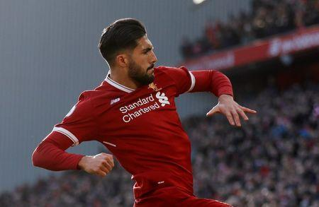 Soccer Football - Premier League - Liverpool vs West Ham United - Anfield, Liverpool, Britain - February 24, 2018 Liverpool's Emre Can celebrates scoring their first goal Action Images via Reuters/Carl Recine