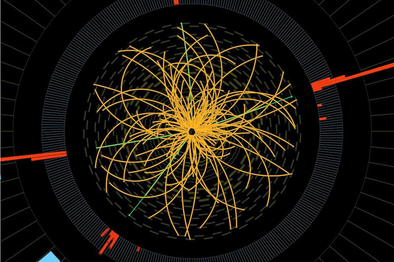 "FILE - This 2011 image provide by CERN, shows a real CMS proton-proton collision in which four high energy electrons (green lines and red towers) are observed in a 2011 event. The event shows characteristics expected from the decay of a Higgs boson but is also consistent with background Standard Model physics processes. Physicists in Italy said Wednesday, March 6, 2013 they are closer to concluding that what they found last year was the elusive ""God particle."" But they still haven't reached that ""Eureka moment"" when they can announce the Higgs boson is found. The long theorized subatomic particle would explain why matter has mass and has been called a missing cornerstone of physics. (AP Photo/CERN)"