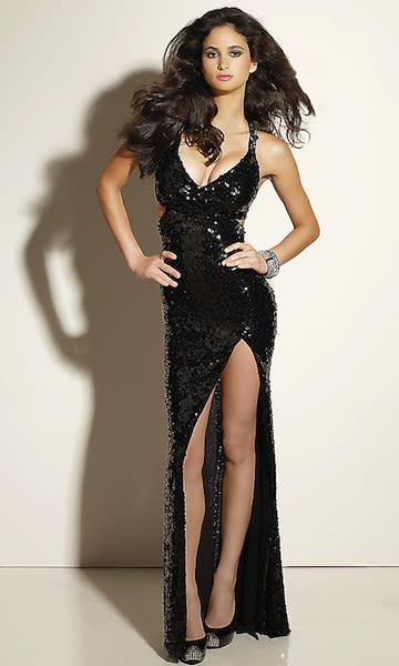 Photo by: promgirl.com Prom dress fail.Too low! Slit!