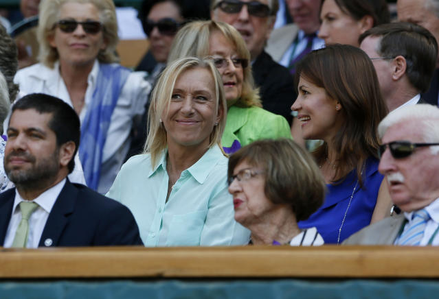 Martina Navratilova in the Royal Box on Centre Court for the Ladies' Singles Final during day twelve of the Wimbledon Championships at The All England Lawn Tennis and Croquet Club, Wimbledon.