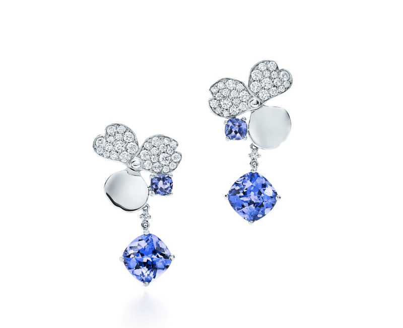 Tiffany Paper Flowers Diamond and Tanzanite Flower Drop Earrings in Platinum, $9,000 (Photo: Tiffany & Co.)