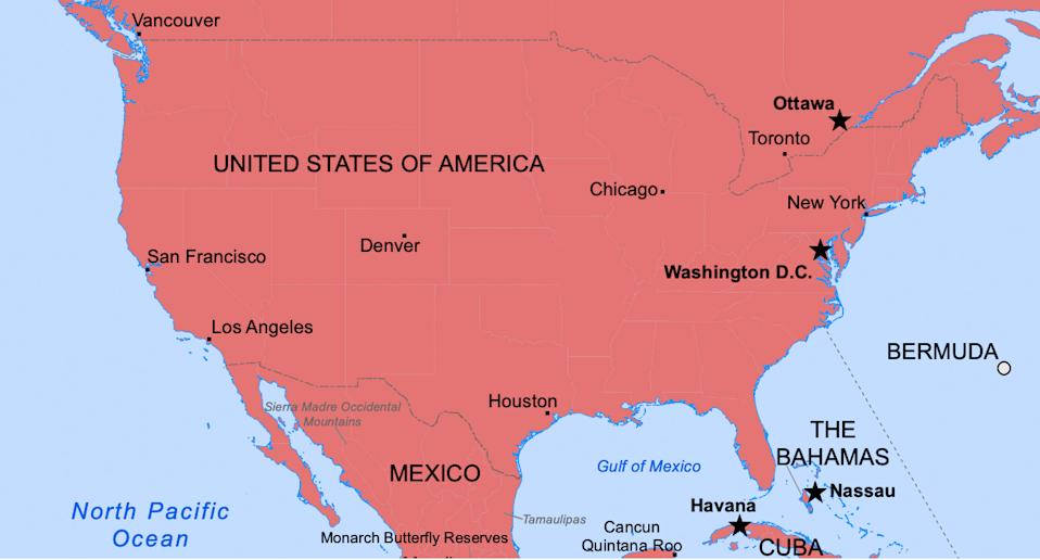 A red map shows the capital cities of the United States of America.