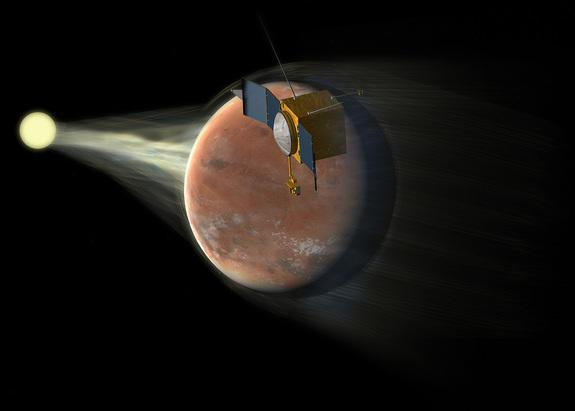 Maven is shown studying how Mars loses its atmosphere to space in this artist's illustration.