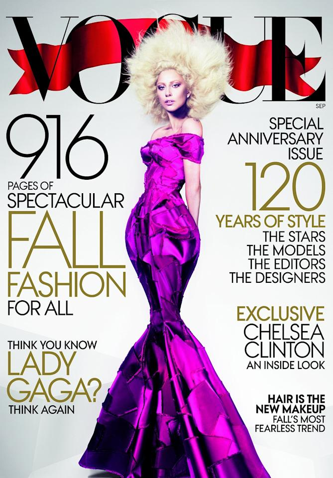"<div class=""caption-credit""> Photo by: Vogue</div><div class=""caption-title""></div>Lady Gaga looked way more like a cartoon character than usual on Vogue's startling September 2012 cover."
