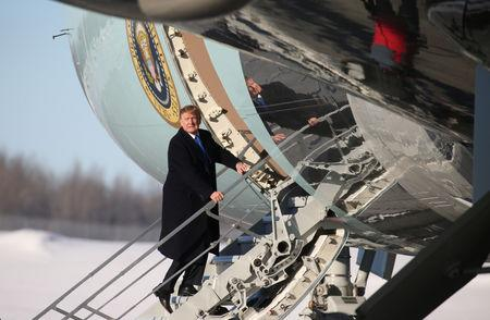 U.S. President Trump boards Air Force One after refueling stop in Anchorage, Alaska